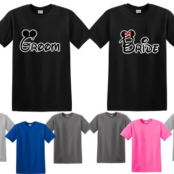 Mickey Minnie Bride Groom Couple Matching Love Set Men T-shirt