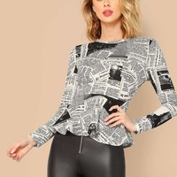 Newspaper Print Peplum Top