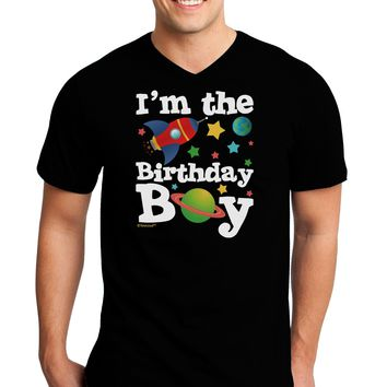 I'm the Birthday Boy - Outer Space Design Adult Dark V-Neck T-Shirt by TooLoud