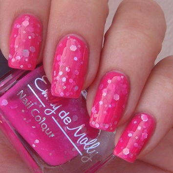 """Nail polish - """"Girls Best Friend"""" silver holographic glitter in a bright pink base - new 12 ml bottle"""