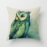 Green Owl Throw Pillow by Teagan White | Society6