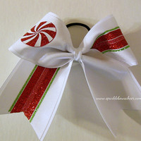 Peppermint Candy Stripes Large Cheer Bow Hair Bow Cheerleading Christmas