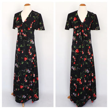 Vintage 1960s Long Hawaiian Maxi Gown 60s Hippie Dress 70s Black Floral Print Tiki Dress Hawaiian Prom Gown Size Small Retro Beach Dress