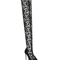 Dolce & Gabbana - Lace Thigh-High Point-Toe Boots - Saks Fifth Avenue Mobile