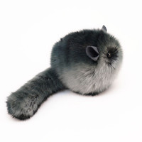 Smokey Dark Grey Chinchilla Stuffed Toy Plush Animal - 4x5 Inches Small Size