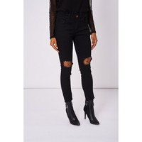 Black Super Skinny Cropped Ripped Jeans Ex-branded