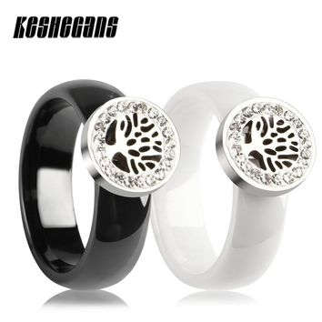 Hollow Life Of Tree With Circle Of Crystal Drill Ceramic Ring 6mm Wide Women Wedding Fashion Party Jewelry Best Gift For Friends