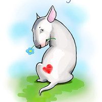 "Funny card with Bullterrier. Printable greeting card, Instant Download 5 x 7"" JPG file, I'm sorry. Sketch drawing."