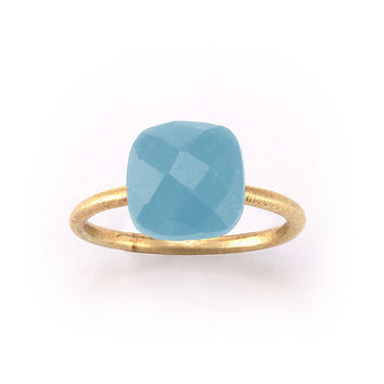 Betty Carre' Cushion Cut Blue Chalcedony Ring