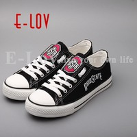 E-LOV New Arrived Ohio State Buckeyes Canvas Shoes Low Top Lace Canvas Shoes Woman Girls Print Casual Shoes Festival Gift