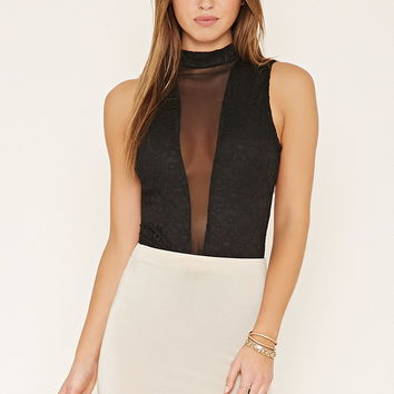 Mesh-Paneled Lace Bodysuit