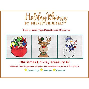 Christmas Holiday Treasury #9 Toy Sack, Reindeer and Snowman THREE Counted Cross Stitch Patterns
