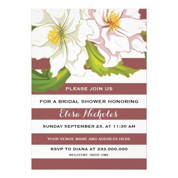 "Marsala stripes & flowers wedding bridal shower 5"" x 7"" invitation card"