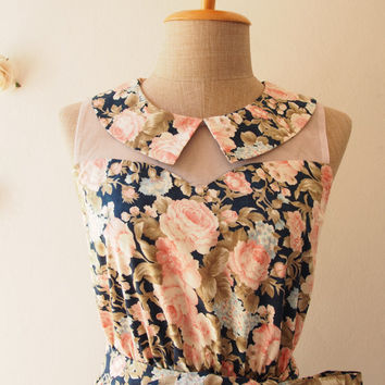 Navy Dress Pink Rose Peter Pan Collar Dress Floral Sundress Tea Dress Illusion Dress Floral Bridesmaid Dress  Navy Party Dress -Size S,M,L