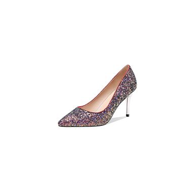Pointed Toe Sequined High-heeled Slim-mouth Wedding Women Pumps Stiletto Heel Shoes