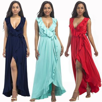 Jessie Vinson Fashion Women Deep V-neck Ruffles Split Maxi Dress Summer Sleeveless Plus Size Asymmetrical Long Dress