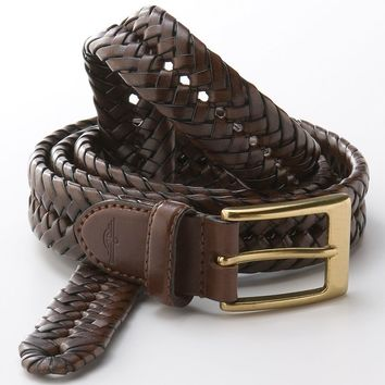 Dockers V-Weave Braided Belt, Size: 44 (Beige/Khaki)