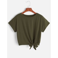 Knot Front Crop Tee Army Green