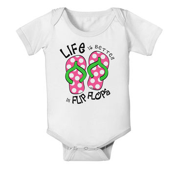 Life is Better in Flip Flops - Pink and Green Baby Romper Bodysuit