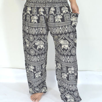 Yoga Pants Black grey  stripes color/Harem Pants/Boho/Elephant Print design/Drawstring elastic waist/Comfortable wear/Message wear/Thailand.