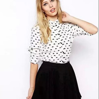 White Patterned Button Long-Sleeve Collared Shirt