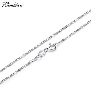 35-70cm Slim 925 Sterling Silver Figaro Chain Necklace Women Girl Children Boy Kids Italy Jewelry kolye collares sieraden Colier