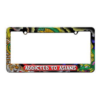Addicted To Asians - License Plate Tag Frame - Dragon and Tiger Tattoo Design