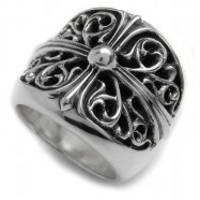 Classic Chrome Hearts Music Oval Cross Silver Ring - $179.00