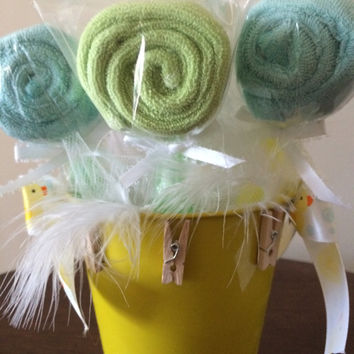 Baby shower usable lollipop washcloth spoons, rustic pail centerpiece, baby favor