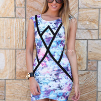 WONDERLAND DRESS , DRESSES, TOPS, BOTTOMS, JACKETS & JUMPERS, ACCESSORIES, SALE, PRE ORDER, NEW ARRIVALS, PLAYSUIT, COLOUR, GIFT VOUCHER,,Blue,Print,Purple,BODYCON,SLEEVELESS Australia, Queensland, Brisbane
