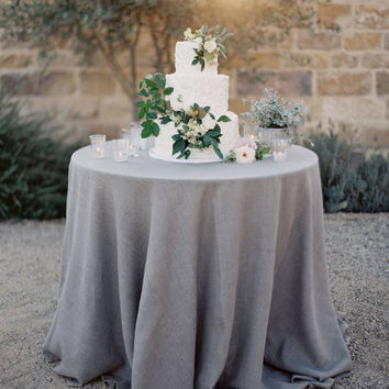 Grey Natural Linen Tablecloth