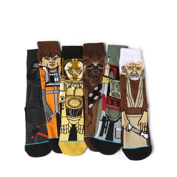 mix 6pairs/lot 2017 Sale Hot Star Wars Autumn And Winter New Cartoon Funny Men Socks Stockings Planet Battle Vader Socks P047