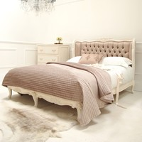 Classical White Taupe Silk Bed | Sweetpea and Willow