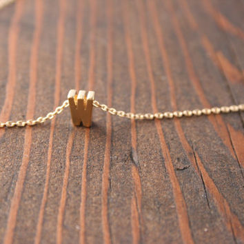 Personalized Small Uppercase Gold  Block Initial / Floating Letter Necklace in Gold