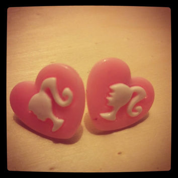 heart shape barbie stud earrings