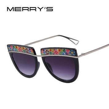 MERRY'S Flowers Decorative Sun Glasses Metal Temple UV400
