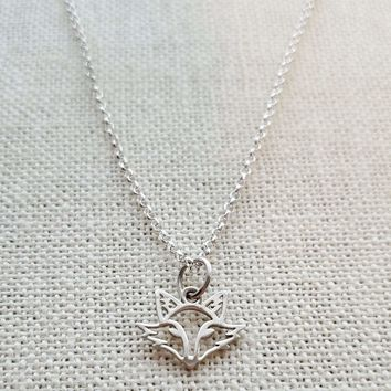 terling Silver Fox Charm Necklace - Dainty Charm Necklace - Fox Lover Gift