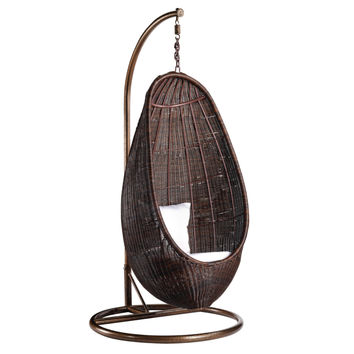 Rattan Hanging Chair with Stand, Chocolate Rattan