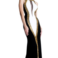 Color Block Evening Gown