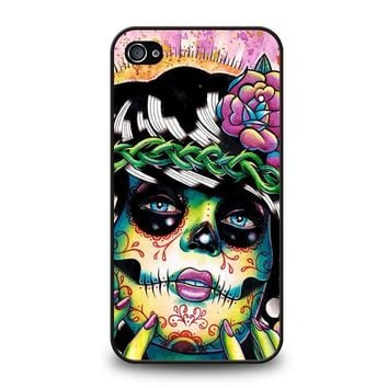 day of the dead skull girl iphone 4 4s case cover  number 1