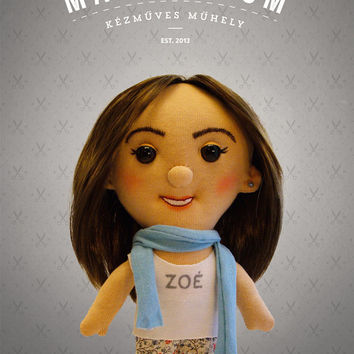 Selfie doll - Zoe, custom doll, caracter doll, rag doll, special doll, personalized doll, made by photo
