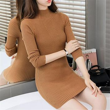 Women Winter Dress Turtlemeck Bodycon Casual Long Sleeve Short Sweater Dresses 2017 Autumn Sheath Knitted Vestidos Slim Fashion