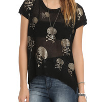 Black Skull Hi-Lo Top