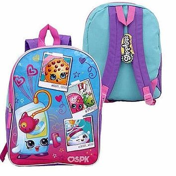 "New 15"" Shopkins Blue and Pink Cordura Glossy Backpack"