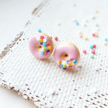 Pink Donut Earrings, polymer clay, food earrings, Strawberry, Sterling silver findings, pink candy, candy studs, pink donut earrings, studs