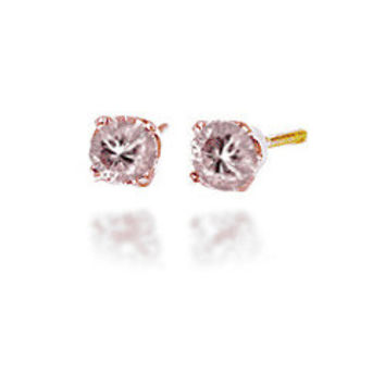 0.25 Carats Champagne Pink  Diamond Earrings in 14k Gold