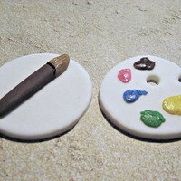 Painting Party FUN! Set of 12 (one dozen) Paint Palette AND the Brushes ! Fondant Cupcake Toppers.