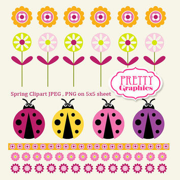 Spring Clipart 02 - JPEG , PNG - Instant Download - Commercial Use - 5x5 Sheet - Scrapbook Kit - Embellishments - High Quality 300 dpi