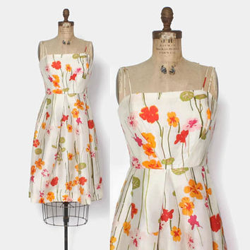 Vintage 60s Floral Dress / Early 1960s Raw Silk Strappy Sun Dress S