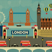London, England Skyline - European Destination Travel Wall Art Poster Print for Home, Office, and Nursery - style E8-O-LON